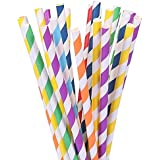 105 Paper Straws Multicolor Rainbow for Wedding Birthday Party Drinking Decoration Favor Supplies Striped 7 3/4 inch