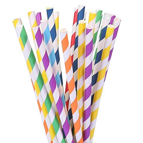 105 Paper Straws Multicolor Rainbow for Wedding Birthday Party Drinking Decoration Favor Supplies BPA Free Striped (7.75 inch)