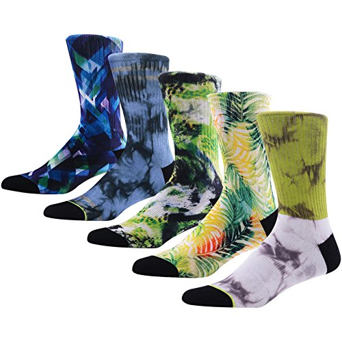 Novelty Casual Dress Crew Socks for Men, MEIKAN Luxury Fun Design Colorful Gift Moisture Wicking Mid Calf Socks ,5 Pairs Color 4,One Size -