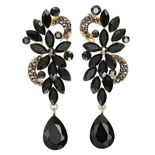 Art Deco Drop Earrings (Art Deco Black Rhinestone Crystal Cluster Chandelier Floral Teardrop Long Dangle Statement Earrings)