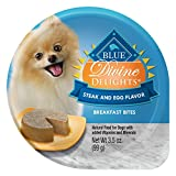 Blue Buffalo Divine Delights Natural Adult Small Breed Wet Dog Food Cup, Steak & Egg Breakfast Bites 3.5-Oz (Pack Of 12)