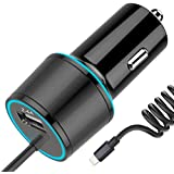 Czznn カーチャージャー iPhone 車載充電器 シガーソケットチャージャー 4.8A 急速充電器 iPhone X/8/8 Plus/7/6s/6s Plus 5S 5 5C SE, iPad and More など対応 ブラック (ブラック)