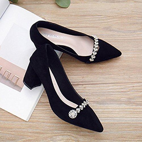 Escarpins Talons Hauts Carrés Chaussure Brillant Fleurs Strass Pumps Bout Pointu Femme Escarpin Noir 39 PSyW7T0UFi