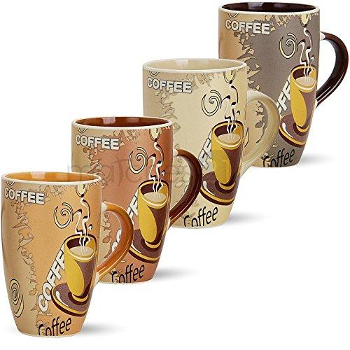 Große Tassen Becher Kaffeetassen Kaffeebecher Modern Coffee aus Keramik 4er Set je 12 cm / 350 ml