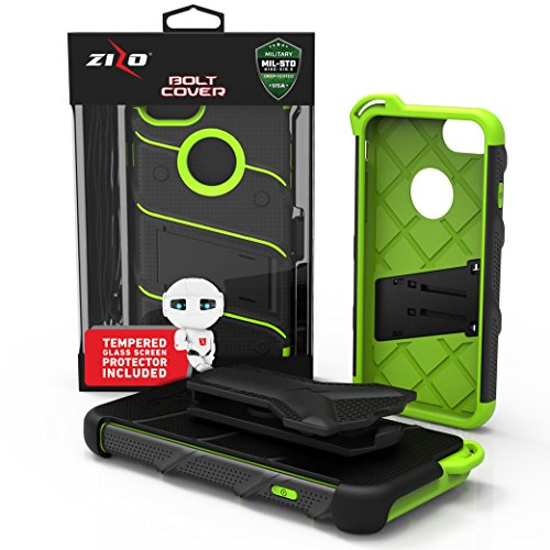 iPhone 8 Case / iPhone 7 Case by Zizo [Bolt Series] w/ [iPhone 8 Screen Protector ] Kickstand [12 ft. Military Grade Drop Tested] Holster Belt Clip