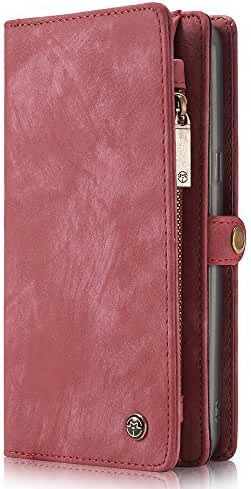 Samsung Galaxy S8 Plus Case Leather Wallet Phone Case Flip Cover Magnetic Detachable Case with Card Slots Red