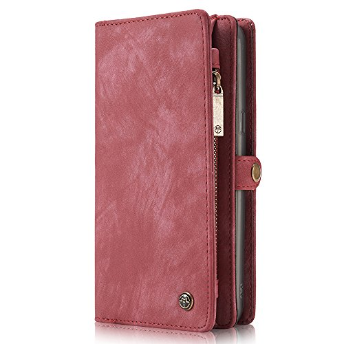 Price comparison product image Leather wallet Phone Case Magnetic Detachable Case with Card Slots Cash Compartment Red , For 5.8 inches (Samsung S8)