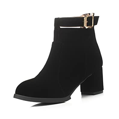 Women's Solid Imitated Suede Kitten-Heels Zipper Round Closed Toe Boots