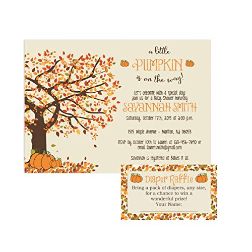 Fall Baby Shower Invitations - Pumpkin Baby Shower Invitations by Party Printery