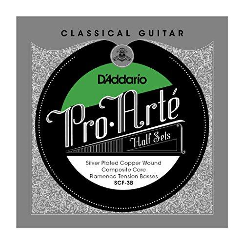 D'Addario SCF-3B Pro-Arte Silver Plated Copper on Composite Core Classical Guitar Half Set, Flamenco ()