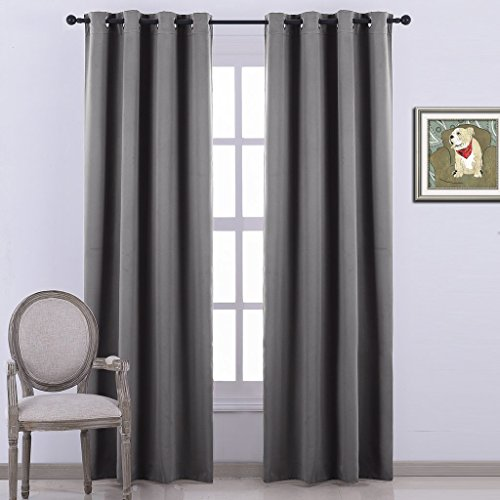 Nicetown Blackout Curtains Window treatment Panel Drapes – (Grey Color) – W52 x L84 Inch ,8 Grommets / Rings Top ,1 Panel