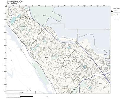 Amazon.com: ZIP Code Wall Map of Burlingame, CA ZIP Code Map