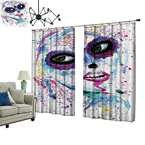 PRUNUS Decorative Curtains has Hook Halloween Girl Sugar Skull Makeup Paint Machine Washable for Easy Care,W120 xL108