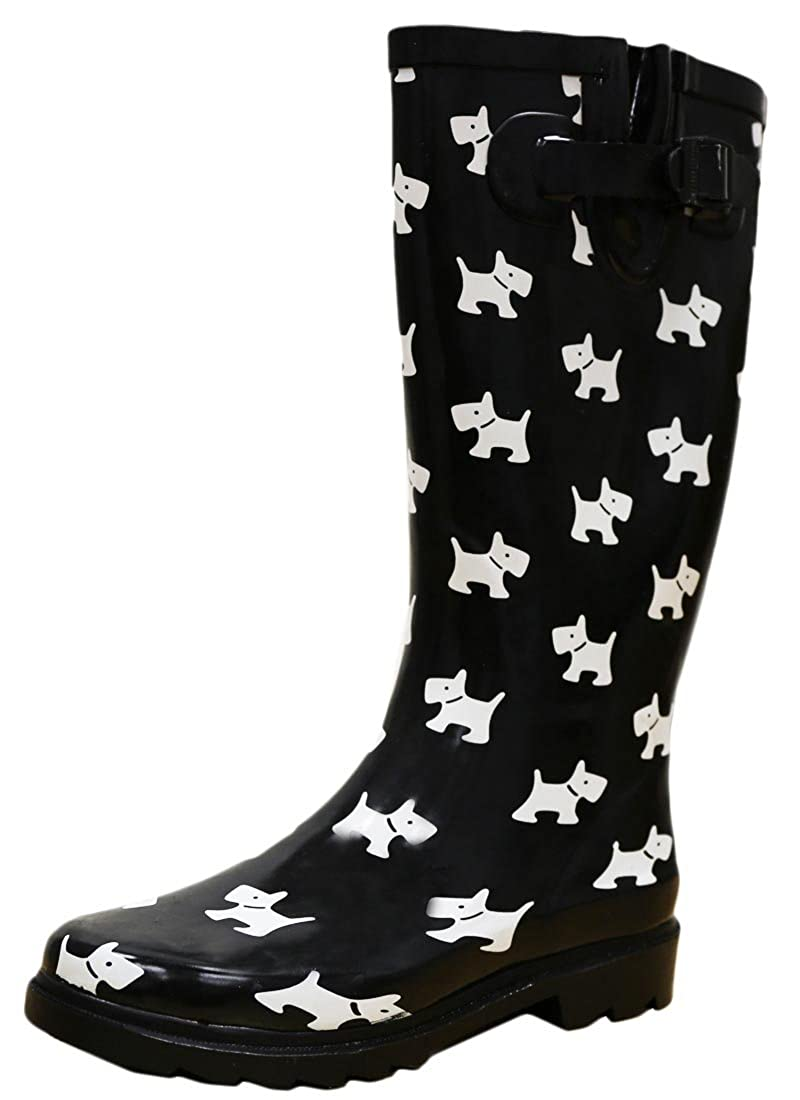 Black White Puppy Cambridge Select Women's Waterproof Pattern Print Knee High Welly Rain Boot