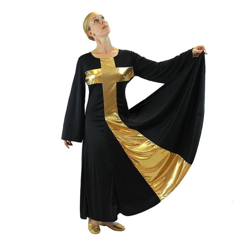 Danzcue Womens Praise Cross Long Dress, Black-Gold, XL by Danzcue