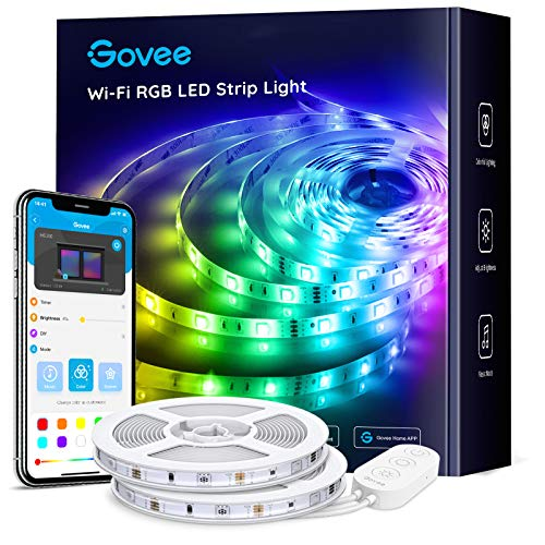 MINGER Govee 32.8ft Waterproof Wireless Smart Phone Controlled LED Light Strip Kit WiFi Music Sync Compatible with Alexa…