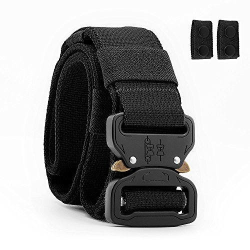 Tactical Belt Heavy Duty Waist Belt Military Style Nylon Belts with Quick-Release Metal Buckle 1.5″ (Black, Medium)