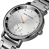 Women's Ladies Waterproof Stylish Dial Stainless Steel Band Casual Quartz Wrist Watch (Grey)