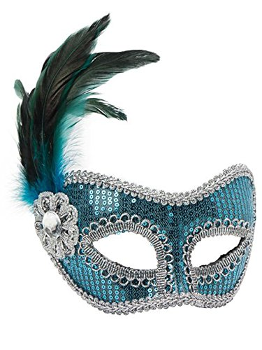 Forum Novelties Sequin Fashion Mask in Turquoise