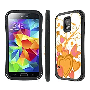 NakedShield Samsung Galaxy S5 Yellow Hearts Heavy Duty Shock Impact Armor Art Phone Case