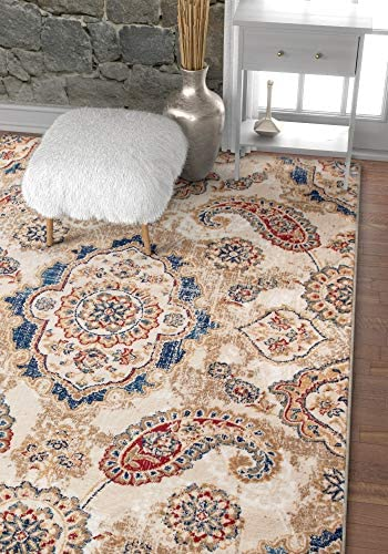 Well Woven Vijaya Medallion Beige Vintage Persian Floral Oriental Paisley Area Rug 8 x 11 7 10 x 10 6 Neutral Modern Shabby Chic Thick Soft Plush Shed Free