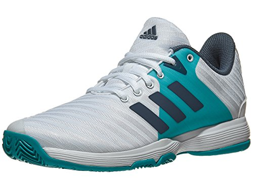 adidas Women's Barricade Court Tennis Shoe, White/Tech Ink/Hi-Res Aqua, 7 M US