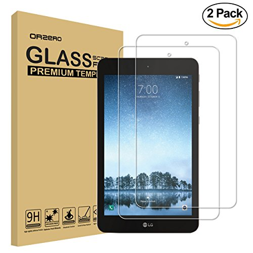 [2 Pack] Orzero For LG G Pad F2 8.0 / LK 460 (upgraded with right size) Tempered Glass Screen Protector, 9 Hardness HD Anti-Scratch [Lifetime Replacement Warranty]