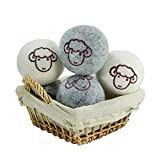 All Natural Wool Dryer Balls Organic Fabric Softener Laundry - 6 Pack XL - Reusable Reduce Wrinkle Quicker Drying Time Anti-Static Large Clothes Drying Ball (3 Grey 3 White)