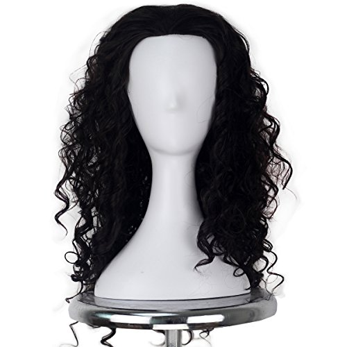 Long Brown Curly Wig Halloween (Medium Long Curly Dark Brown Wig for Men Halloween Cosplay Costume Wig)