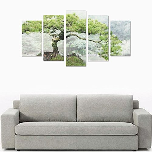 Hotel or Spa Wall Decorations Natural Bonsai Pine Rooms Wall Paintings Living Room Canvas Prints Fashion Personalities Decor 5 Piece Canvas painting (No Frame) by sentufuzhuang Canvas Printing