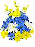 Admired By Nature Artificial Full Blooming Scabiosa, Rose, Lily & Hydrangea with Filler Mixed Bush for Home, Wedding, Restaurant & Office Decoration Arrangement, Blue/Yellow/Cream, 40 Stems