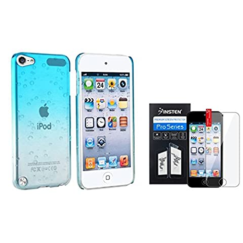 Insten Clear Sky Blue Waterdrop Snap on Case + Clear Reusable Screen Protector Compatible with Apple iPod Touch 6th Gen Apple iPod Touch 5th (Ipod Touch Gen3 Case)