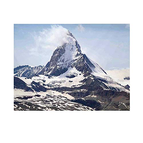 Farmhouse Decor Photography Background,Matterhorn Summit with Cloud Mountain Scenery Glacier Natural Beauty Backdrop for Studio,15x10ft