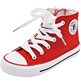 iDuoDuo Kids' Red Casual High Top Sneaker Girls Zipper Lace Up Classic Canvas Shoes Size 8.5-3 (1.5 M US Little Kid, Red)