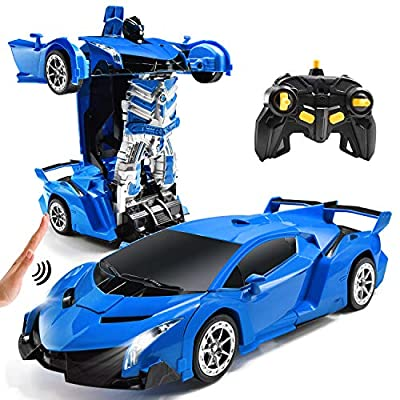 Jeestam RC Cars Robot for Kids Remote Control Transformrobot Car Toys with Gesture Sensing One-Button Deformation Auto Demo, 1:14 Scale 360° Rotation Light Music, Best Gift for Boys Girls (Blue): Toys & Games