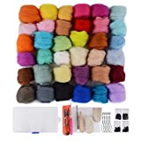 wet wool felting kits - Needle Felting Kit - Wool Roving 36 Colors Set - Starter Tool Kit for Felted Animal gift Fibre Yarn Needle Felting Supplies