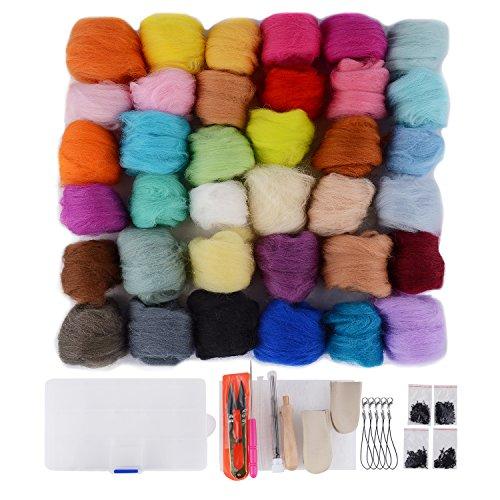 (Needle Felting Kit - Wool Roving 36 Colors Set - Starter Tool Kit for Felted Animal gift Fibre Yarn Needle Felting Supplies )