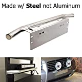 2012 4runner bull bar - iJDMTOY Bull Bar Style Stainless Steel Front Bumper License Plate Mount Bracket Holder For Off-Road Lights, LED Work Lamps, LED Lighting Bars, etc (Chrome, Universal Fit)