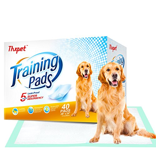 Thxpet Puppy Pads Super Absorbent Leak-Proof 40 Count Dog Pee Training Pads 28 x 34 inch Review