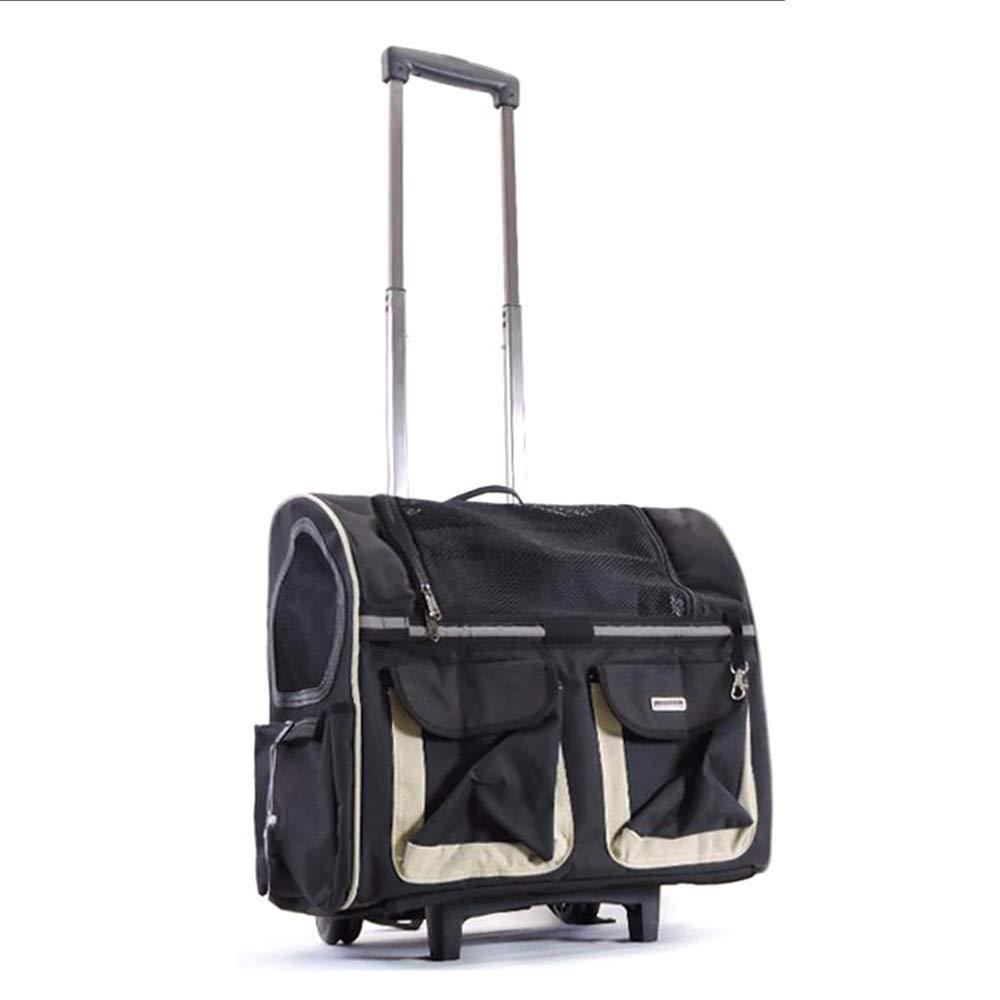 Black XINGZHE Pet Travel Bag, pet Trolley case, Foldable, 360° redating Wheel, Storage Bag, Portable cat and Dog Travel Equipment Pet Bag (color   Black)