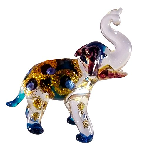 Sansukjai Elephant Pendant Necklace Glass Animals Figurines Hand Blown Glass Art Jewelry Blown Glass Gift (Wine Delivery Montreal)