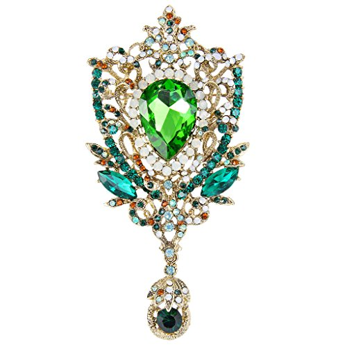 EVER FAITH Women's Rhinestone Crystal Royal Flower Bouquets Brooch Pendant Emerald Color Gold-Tone (Crystal Emerald Brooch)