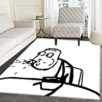 Humor Floor Mat Pattern Weird Guy Meme Face Character Barfing Food Scene Troll Web Comics Illustration Living Dinning Room & Bedroom Rugs 5x6 Black and White