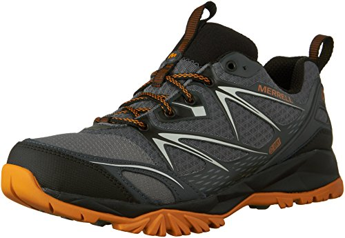Merrell Men's Capra Bolt Waterproof Hiking Shoe, Grey/Orange, 9.5 M US by Merrell