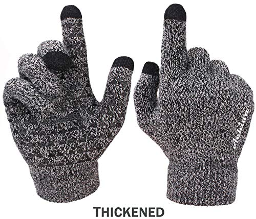Achiou Winter Knit Gloves Touchscreen Warm Thermal Soft Wool Lining Elastic Cuff Texting Anti-Slip 3 Size Choice for Women Men (Black & White Thick, Large)