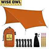 Wise Owl Outfitters Hammock Rain Fly Tent Tarp - The WiseFly Premium 11 x 9 ft Large Hex Waterproof Ripstop Nylon Camping Shelter Canopy Rainfly - Lightweight Camp Gear Accessories - Orange