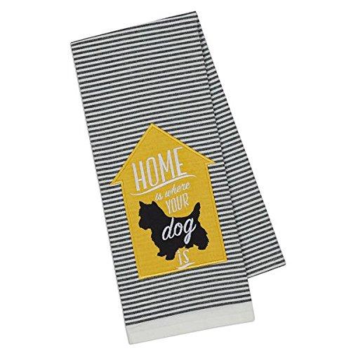 (DII Dog Applique Stripe Dish Towel (Scottish Terrier))