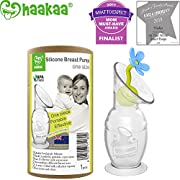 Haakaa Breast Pump with Suction Base and Flower Stopper 100% Food Grade Silicone BPA PVC and Phthalate Free (5oz/150ml) (Blue)