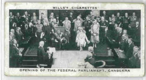 Opening of Federal Parliament, Canberra 1937 Wills Cigarettes Our King and Queen #25 (GOOD)