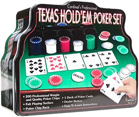 Amazon Com Spin Master Games Cardinal Industries Deluxe Texas Hold Em Set In Tin Toys Games